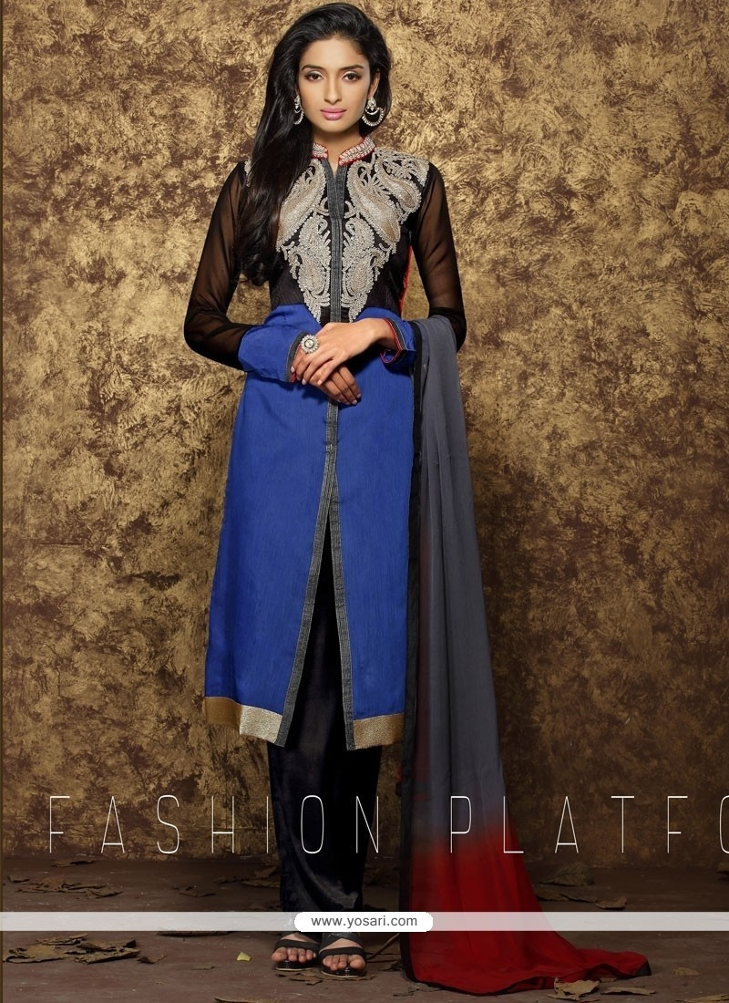 Sorcerous Embroidered Work Blue Designer Pakistani Suit