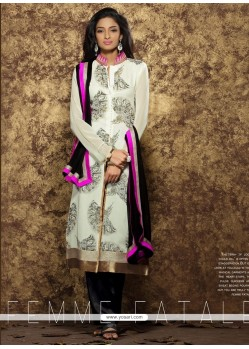 Glowing Print Work White Designer Pakistani Suit