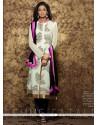 Glowing Print Work White Designer Pakistani Suit