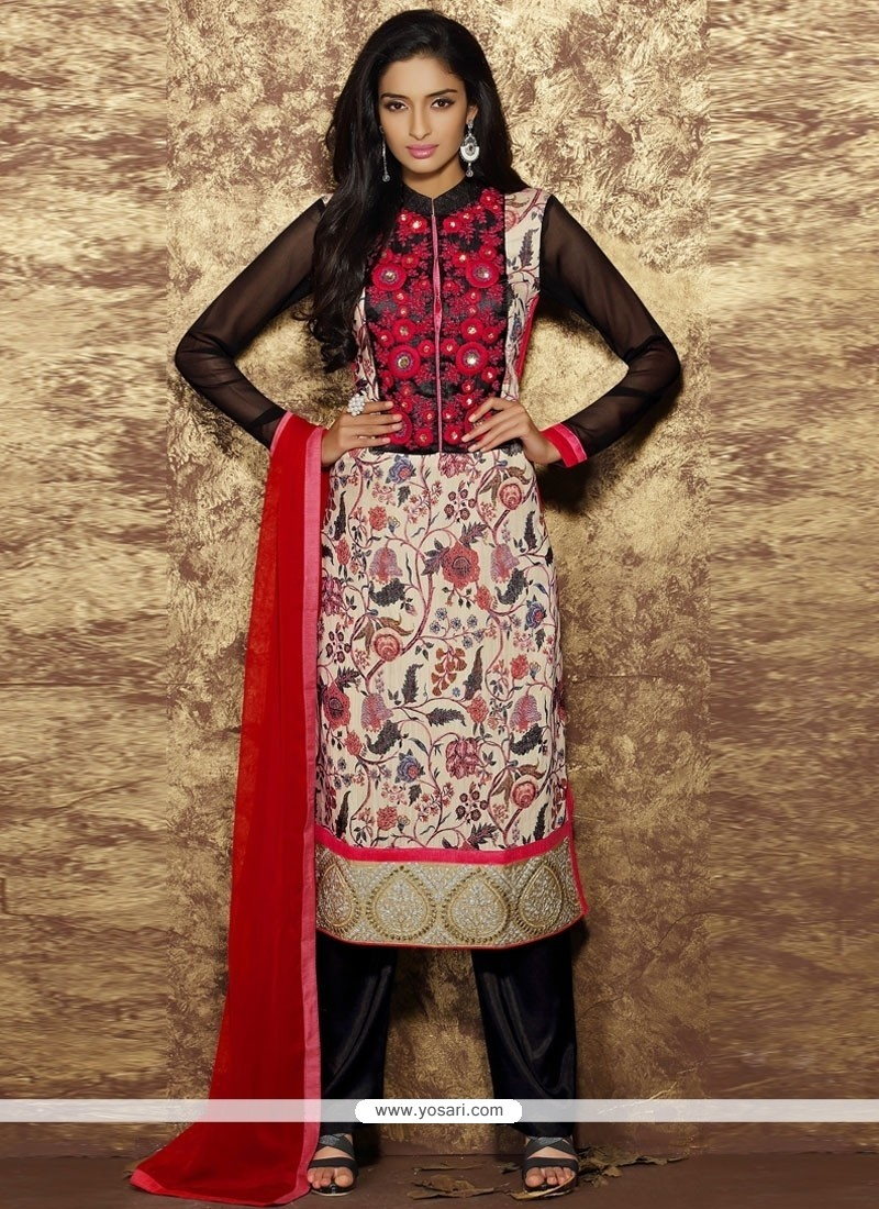 Flamboyant Cotton Designer Straight Salwar Kameez