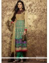 Blooming Green Embroidered Work Cotton Anarkali Suit