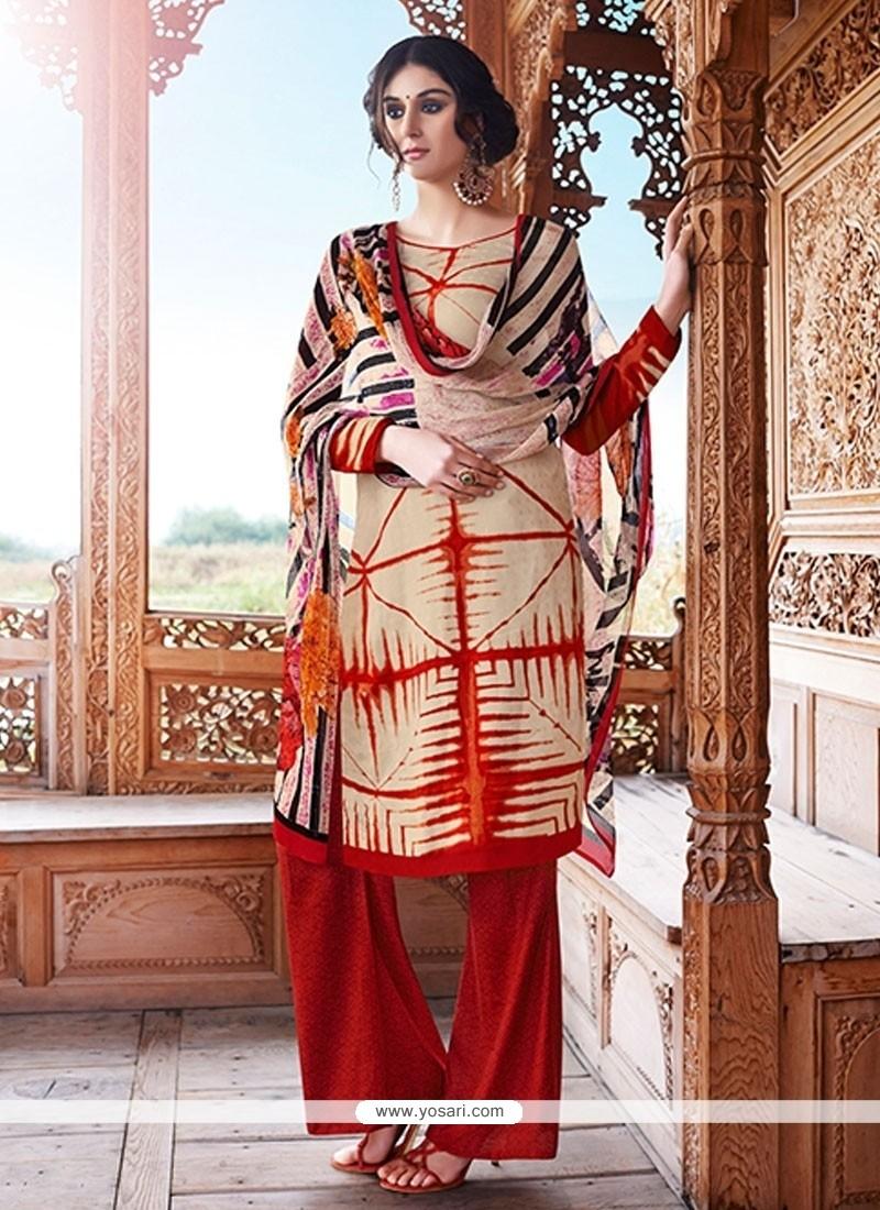 Aristocratic Cream Designer Palazzo Salwar Kameez