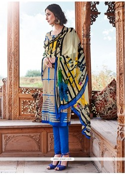 Demure Cream Print Work Pashmina Churidar Designer Suit