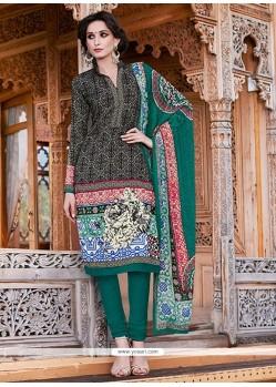 Intricate Black Print Work Pashmina Churidar Salwar Kameez