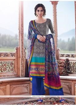 Gleaming Pashmina Print Work Designer Palazzo Salwar Kameez