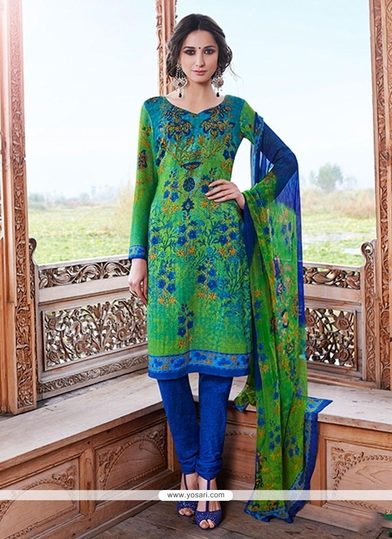 Haute Pashmina Green Churidar Designer Suit