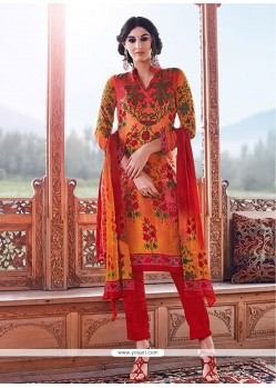Peppy Orange Print Work Churidar Designer Suit