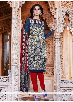 Renowned Print Work Blue Pashmina Churidar Salwar Kameez