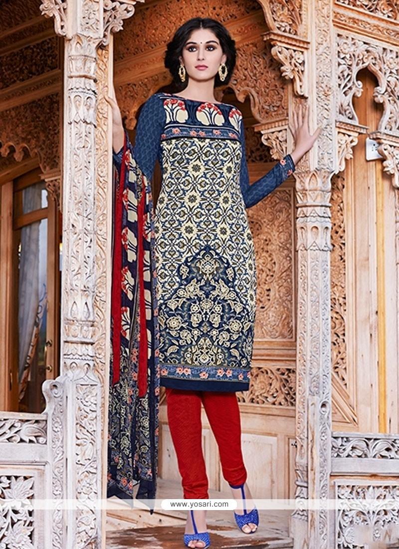 Renowned Print Work Blue Pashmina Churidar Salwar Kameez
