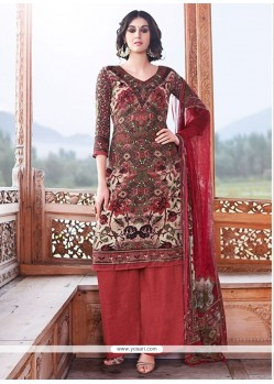 Regal Lace Work Multi Colour Pashmina Designer Palazzo Salwar Suit