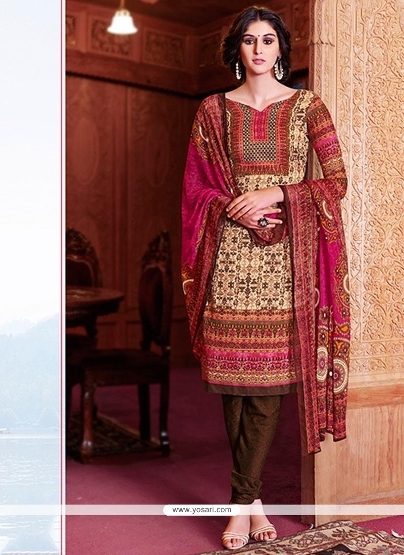 Exceeding Lace Work Multi Colour Pashmina Churidar Salwar Kameez