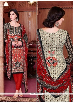 Arresting Red Lace Work Churidar Salwar Kameez