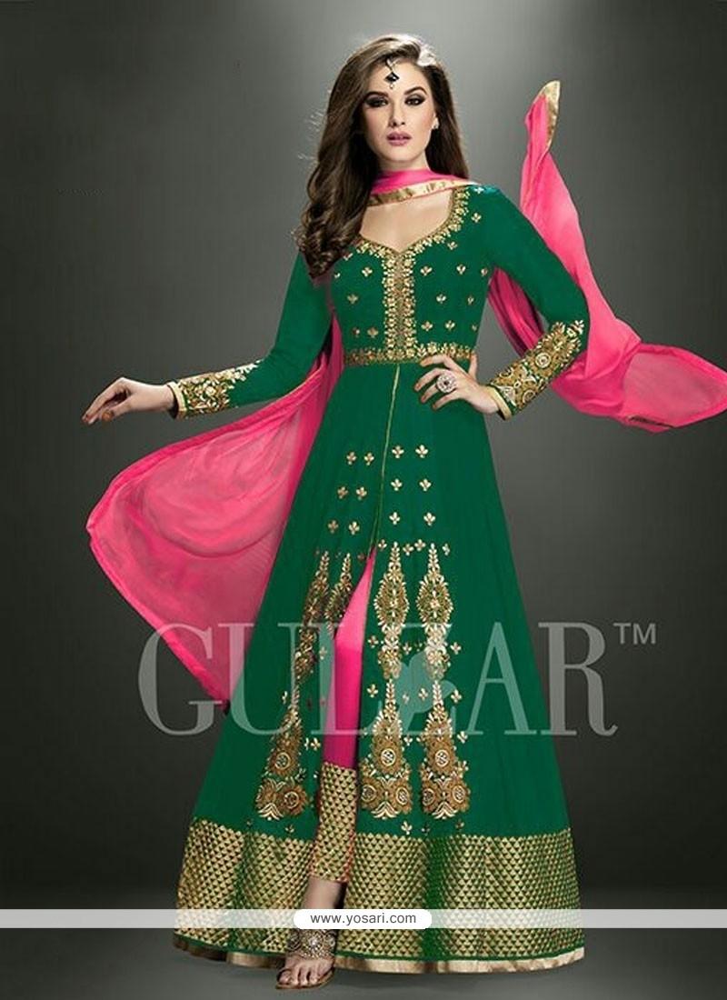 Exciting Georgette Green Designer Salwar Kameez