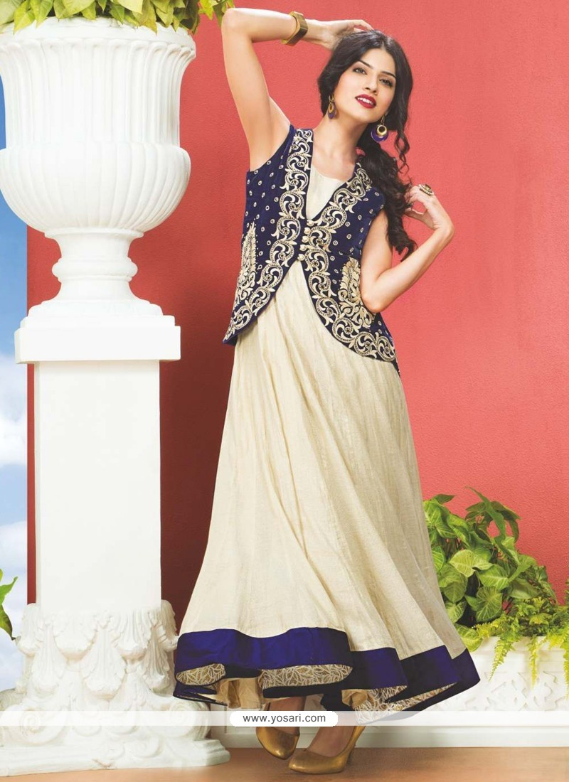 Cream And Blue Embroidery Designer Suit