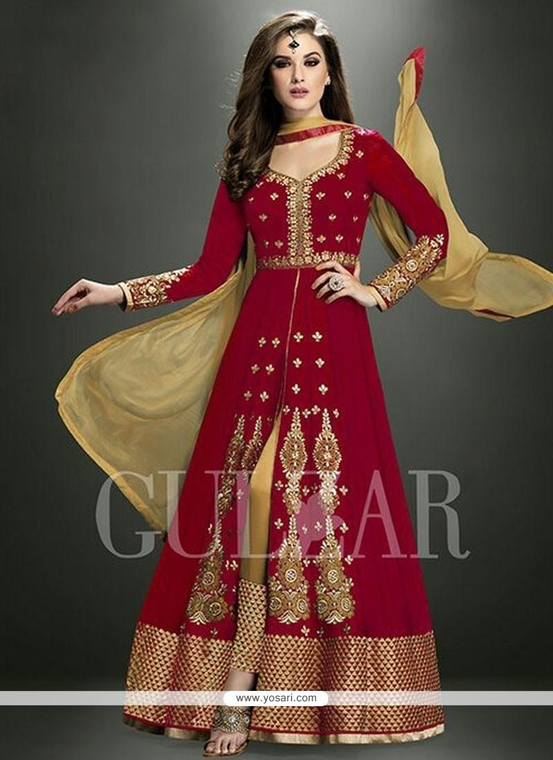 Tantalizing Embroidered Work Georgette Red Designer Salwar Suit