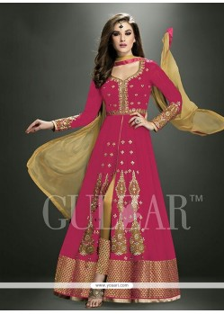 Astounding Embroidered Work Hot Pink Georgette Designer Salwar Suit