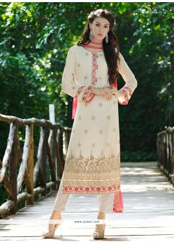 Topnotch White Resham Work Pant Style Suit