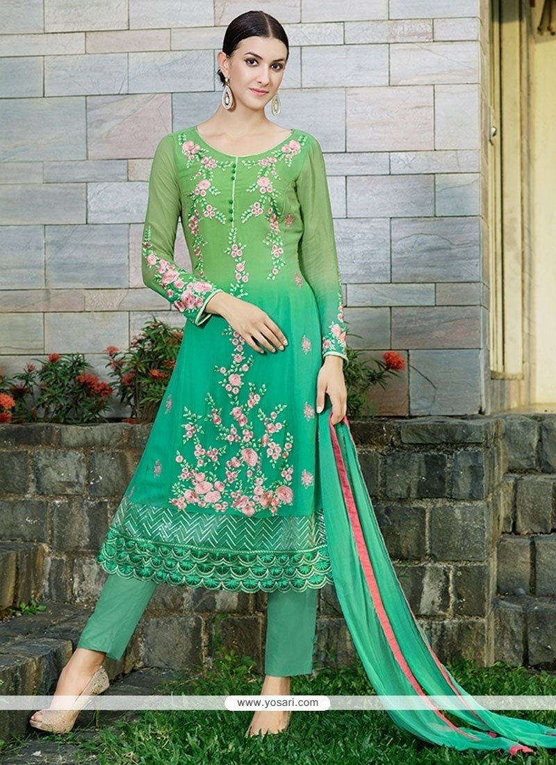 Dilettante Georgette Embroidered Work Pant Style Suit