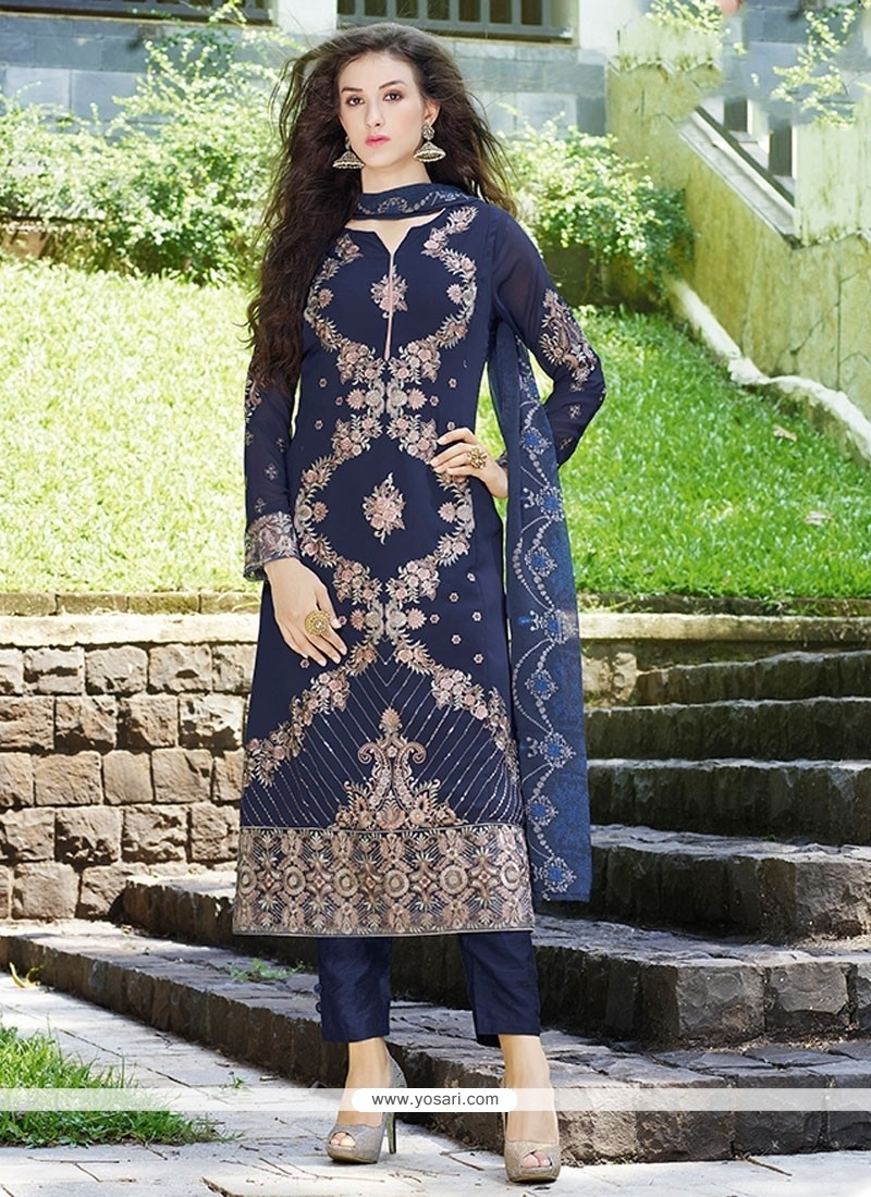 Sonorous Embroidered Work Blue Pant Style Suit