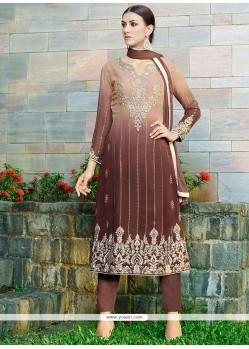 Savory Resham Work Brown Georgette Pant Style Suit