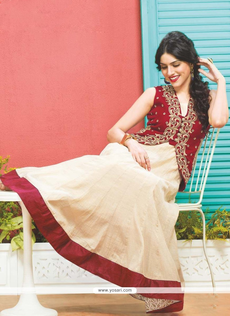 Cream And Red Dhupion Silk Anarkali Suit