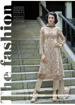 Majestic Beige Resham Work Georgette Pant Style Suit
