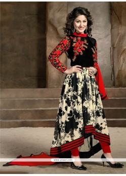 Conspicuous Resham Work Red And Black Designer Salwar Suit