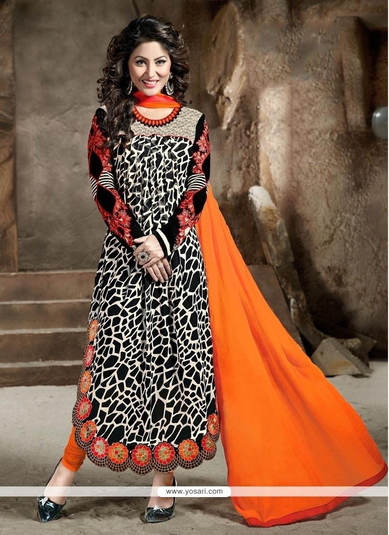 Dazzling Black Resham Work Georgette Designer Straight Salwar Kameez