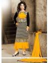 Staggering Lace Work Georgette Black Designer Straight Salwar Suit