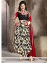 Superlative Embroidered Work Black Designer Salwar Kameez