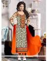 Entrancing Georgette Embroidered Work Designer Straight Salwar Suit