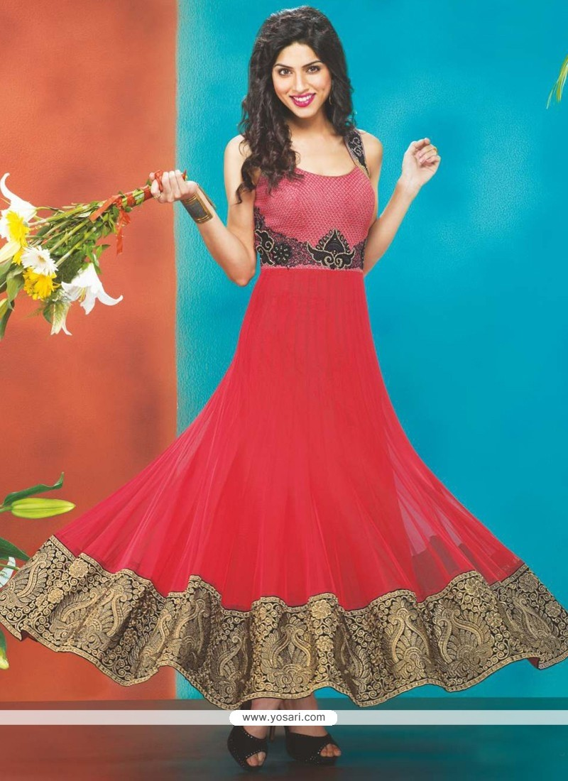 Baronial Red Net Designer Anarkali Suit