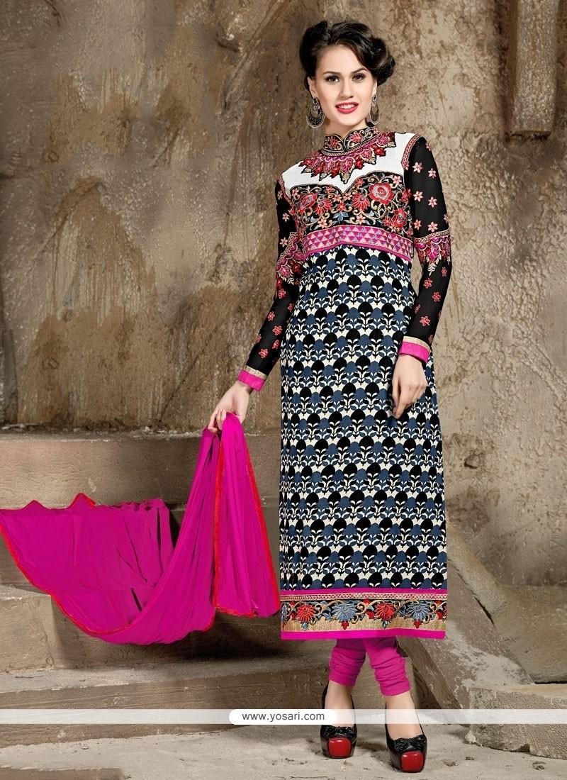 Invigorating Embroidered Work Georgette Black Designer Straight Salwar Kameez
