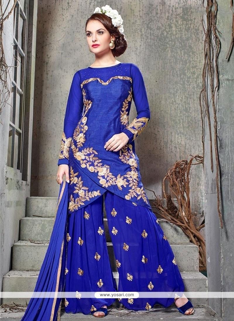 Striking Resham Work Banglori Silk Designer Palazzo Suit