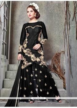 Lovable Banglori Silk Black Resham Work Designer Palazzo Suit