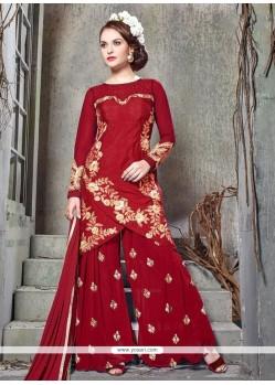 Imperial Resham Work Banglori Silk Designer Palazzo Suit