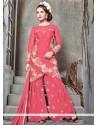 Irresistible Zari Work Hot Pink Banglori Silk Designer Palazzo Suit