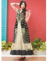 Cream And Black Net Anarkali Suit