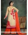 Ayesha Takia Georgette Beige Designer Palazzo Salwar Suit