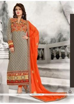 Vibrant Georgette Grey Designer Straight Salwar Suit