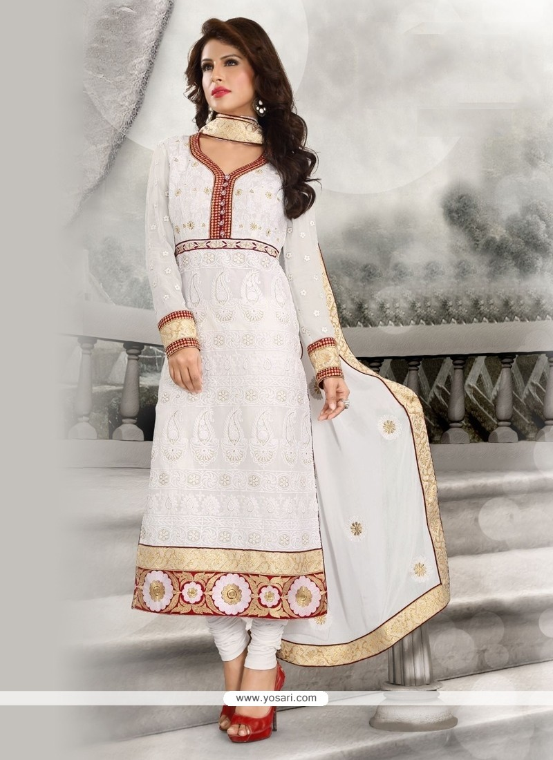 Sightly Embroidered Work White Designer Straight Salwar Suit