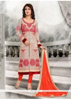 Capricious Orange Designer Straight Salwar Kameez