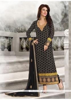 Compelling Georgette Black Designer Straight Salwar Kameez