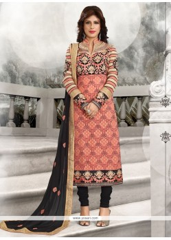 Fantastic Embroidered Work Georgette Peach Designer Straight Salwar Suit