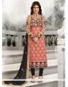 Fantastic Embroidered Work Georgette Peach Designer Straight Salwar Suit
