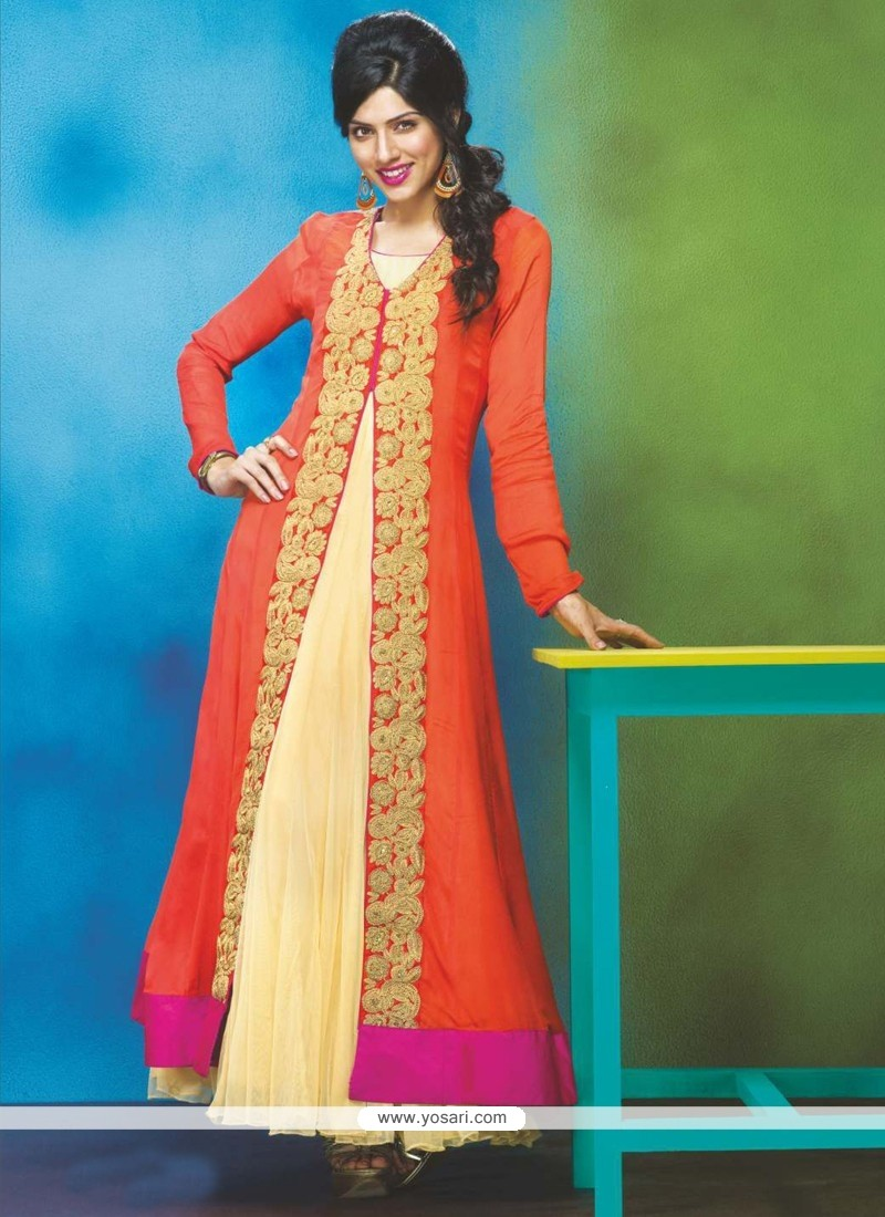 Orange And Yellow Georgette Anarkali Suit