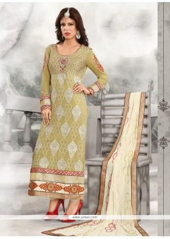 Radiant Green Lace Work Designer Straight Salwar Kameez