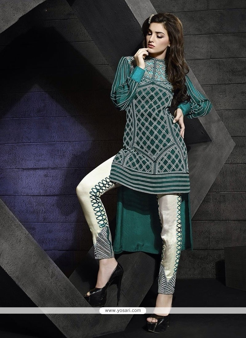 Invigorating Embroidered Work Georgette Sea Green Pant Style Suit