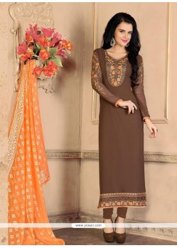 Brown Georgette Designer Straight Salwar Suit