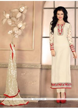 Sophisticated Off White Designer Straight Salwar Suit
